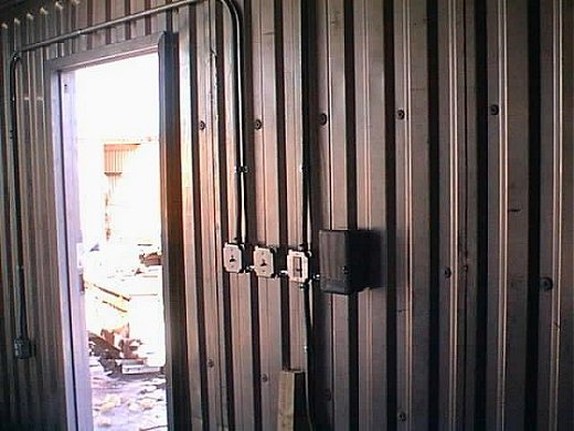 Custom Modified Shipping Container with Electrical Panel and Outlets
