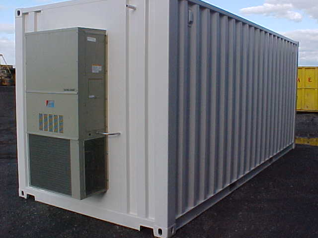 Custom Modified Cargo Container with BARD AC Unit (Exterior)