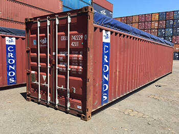 40′ Used Open Top Containers with Removable Tarp and Roof Bows for Easy Loading
